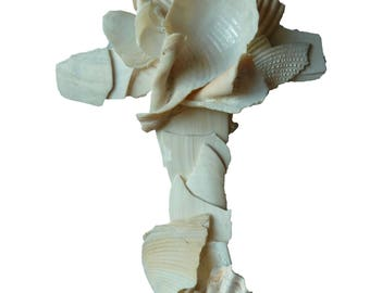 Religious Wall Cross/Created from Naturally Broken Seashells/Original and Unique Sculptured Cross/Beach Wedding Gift/Seashell Crucifix