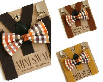 Brown Plaid Bow Tie and Suspenders, Toddler Suspenders, Boys Bow Tie Brown Suspenders, Cake Smash Outfit, Baby Boy Suspenders Bow Tie Set
