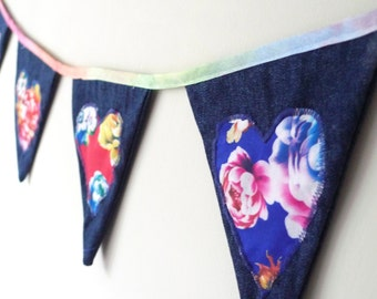 Denim bunting with floral hearts, upcycled fabric, fabric bunting, appliqued bunting, denim banner, denim home decor