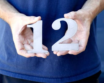 """Small & Large Metal Numbers 3"""" 4"""" 5"""" 6"""" 7"""" 8"""" 9"""" 10"""" 11"""" 12"""" Fonts Home Letters Mailbox Industrial House Decor Wall Art  Personalized Metal"""
