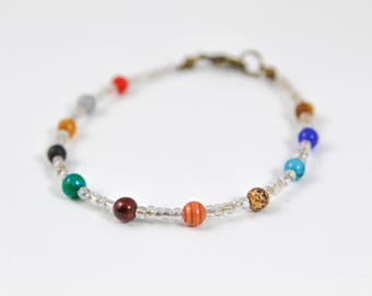 Dainty Solar System Bracelet, Solar System Jewelry, Planets Bracelet, Planets Jewelry, Seed Bead Bracelet, Cosmic Jewelry, Out of This World