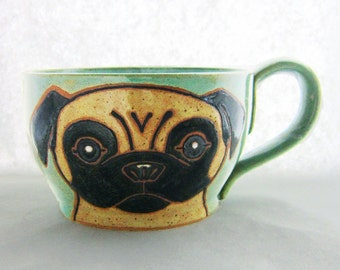 Pug Mug, pottery soup mug, Mother's Day gift, cappuccino mug, great gift for her/him,  holds approx 20 oz, dishwasher and microwave safe.