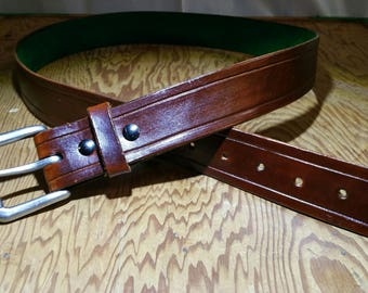 Custom Handmade Mens Leather Casual Belt  Brown with Green Lining 36-38 Made in USA