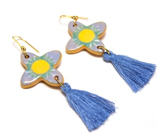 Ceramic Iris Tassel Earrings 'Blue and Yellow Flowers'