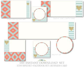 DIY Instant Download,Etsy Cover Set,Facebook Cover,Single-Sided Business Card-Bohemian-Coral,Gold,Teal,Beige-Etsy Marketing Package