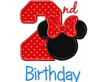 Minnie Ears 2nd Birthday Applique Machine Embroidery Digital Download