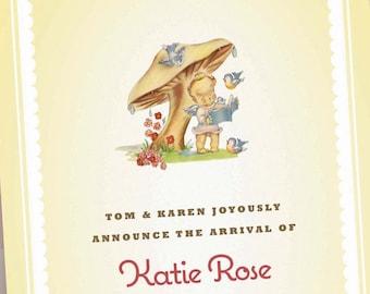 Custom Birth Announcements - Baby Girl Pink  - Kewpie under Mushroom - Personalized Newborn Photo Card - 100 Announcements