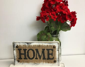 HOME stand burlap sign distressed painted white stand home stand mantle burlap sign/stand burlap primitive burlap home stand home sign