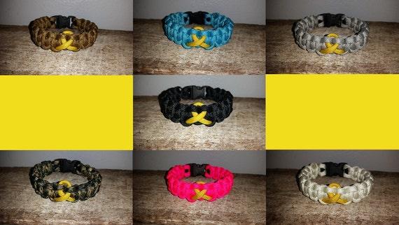 Childhood Cancer Awareness 550 paracord survival bracelet gold ribbon