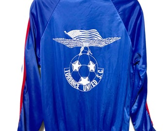 Vintage 80s Royal Blue satin baseball warm up jacket, Size M, red and white stripes, Torrance United Soccer Club