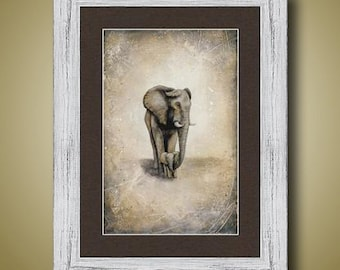 PRINT or GICLEE Reproduction -- Elephant Mother and Baby Realistic Elephant Art Limited Edition Signed Print -- 12 x 18 -- Britt Hallowell