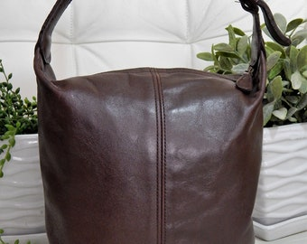 Authentic Vintage COACH -Brown Leather Mini TOTE Purse-Brass hardware-Made in USA -Bucket Bag Tote Shoulder Purse