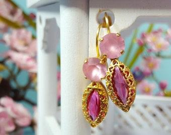 Pastel Pink Earrings - Swarovski Crystal Earrings Dangle - Pink Drop Earrings - Pink Tourmaline Jewelry - Pink Rhinestone Gold Heart E3309