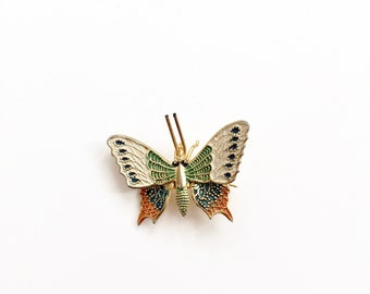Vintage Butterfly Brooch . Made in Spain . Colored Damascene  Gold / Green / Orange / Blue . 50's 60's