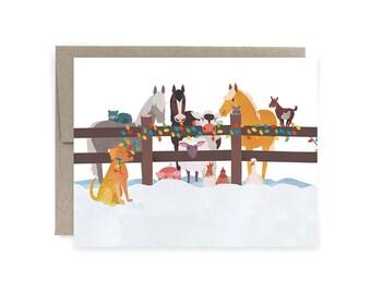 Festive Farm Animals Card: Holiday Christmas Card, Animal Christmas Card