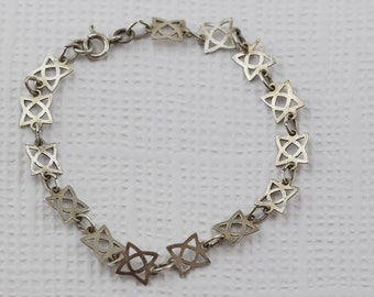 Silver Cut out Flat Geometric Square Shape Link Bracelet