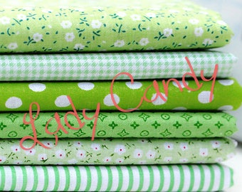 7 coupons fabric Betsy 25 x 25 cm Patchwork flower tones green flowers sewing #7134