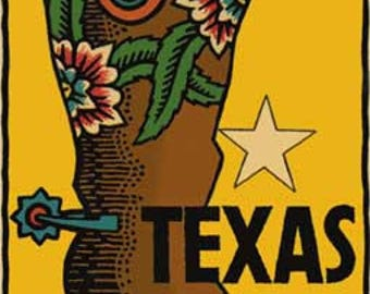 Vintage Style  Texas boot cowboy cowgirl   Travel Decal sticker