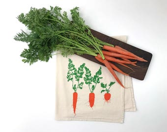 Flour Sack Towel - Carrot Trio - Hand Screen Printed - Hostess Gift - As seen in Country Living Magazine