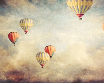 photo print, photography print, home decor, large size wall art, hot air balloons photo, whimsical decor, balloons red yellow sky clouds