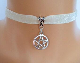 pentagram choker, cream velvet choker, glitter ribbon, wicca