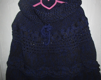 Heather blue and black poncho