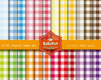 Instant Downloads, 24 Digital Gingham Papers. Clip Art For Packaging, Handmade Crafts Projects. Personal and Small Commercial Use. BP 0766