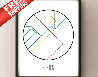 Boston Minimalist Metro -  Massachusetts  Subway Art Print - Transit Poster - Minimalist art - Abstract Line Art Home Decor