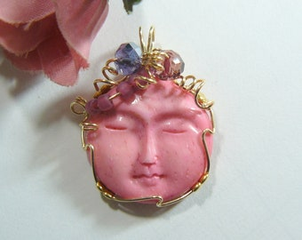 Pink colored Carved Moon face, Wire Wrapped Pendant using 14kgf wire (w41181)