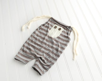 Walk a Straight Line - Sitter 6-9m romper shortalls in striped heather grey and brown taupe knit with cable knit cream sweater pocket (RTS)