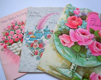 Vintage Embossed Glittered Die Cut Floral Pink Greeting Cards Lot