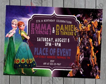 Frozen Fever and Transformers Birthday Invitation