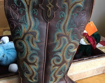LADIES NEW with tags Justin Western Bronze Leather Boots with Turquoise Stitching Rodeo