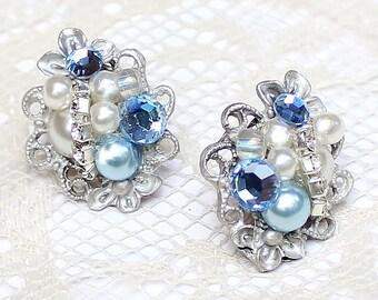 Blue Bridal Earrings- Something Blue Post Earrings- Blue Stud Earrings- Brass Boheme- Blue Rhinestone Earrings- Blue pearl Earrings