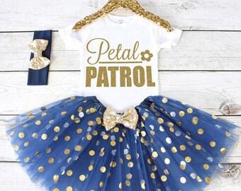 Petal Patrol. Flower Girl Shirt. Flower Girl Outfit. Flower Girl Tutu Outfit. Petal Patrol Shirt. Rehearsal Dinner. S30 FWG (NAVY)