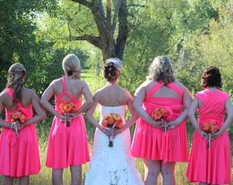 Neon Pink Bridesmaids Dress - XS-5XL - 37 Colors - Pink Infinity Convertible Dress,  Short Wedding Dress, Bridal Party,  Maternity Dress