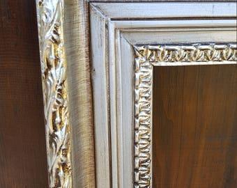 Classic compo ornate wood frame, silver frame, wood picture frame, wedding frame, portrait frame, custom picture frame, silver metal leaf