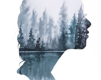 Winter Begins to Fade, print from original watercolor fashion illustration by Jessica Durrant