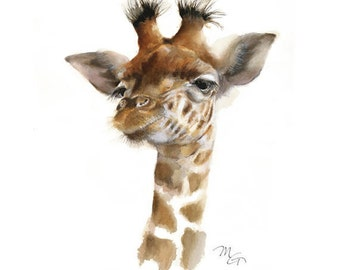 Giraffe watercolor - Giraffe Painting - Giraffe Art Print - Baby Animal Art - ZOO  Watercolor - Woodland animals - Safari