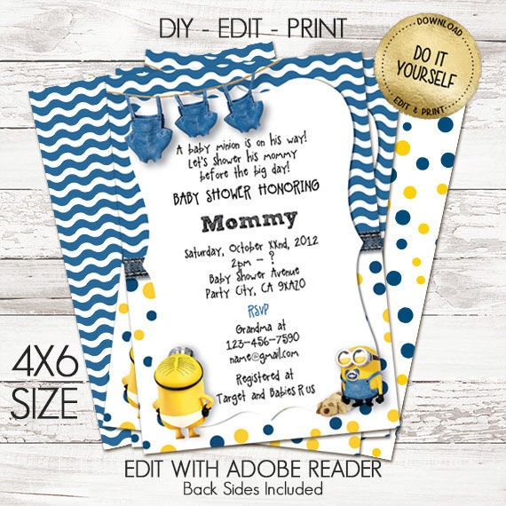 Minion Baby Shower Invitations Customize Yourself Instant