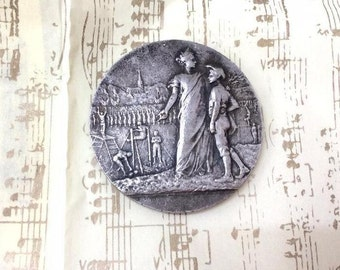 Old French Art Nouveau Silver-Plated Bronze Sports Medal Lisieux 1929.signed Dropsy.