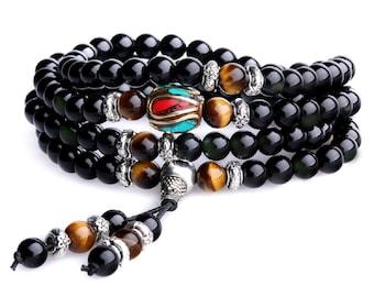 Multilayer Tiger Eye and Obsidian Malas Prayer Beads Bracelet