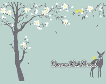 Cherry Blossom Tree Wall Decal, Nursery Wall Decal Baby Room Decor Flower Tree, Deer Birds Wall Sticker-DK153