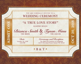 Cinema Ticket Wedding Invitations for Bianca, Movies Ticket Invitation, Ticket Wedding Program, Movie Ticket Wedding, Golden Ticket Wedding