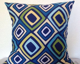 Throw Pillow Covers, Geometric Print, Toss Pillow Cover,  Blue, Yellow, Green Pillow, 18x18 inch -Free Shipping- Richloom Home Decor Fabric