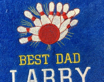 Bowling, Personalized, Bowling towels, embroidered, bowling gift, two lines.