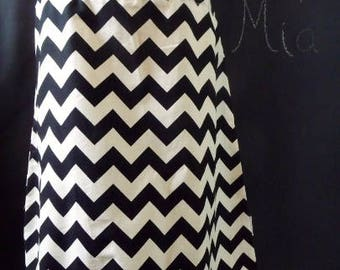 Sample SALE - Will fit Size S/M - Ready to MAIL - A-line SKIRT - Riley Blake - Black and Cream Chevron - by Boutique Mia