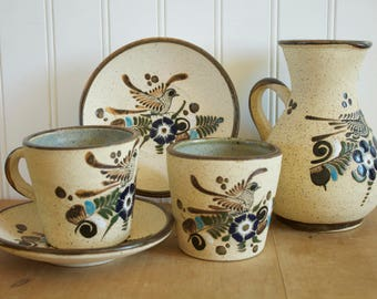 Hand Painted Mexican Netzi Tonala Bird Floral Pitcher Cups Saucers 9pc