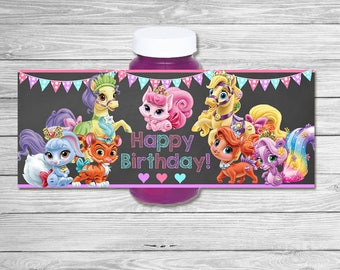 Princess Palace Pets Bubble Label Chalkboard - Princess Bubble Wrap - Palace Pets Birthday Printables - Palace Pets Party Favors