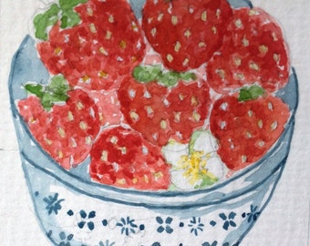 ACEO Original Watercolour Illustration Cottage Strawberries